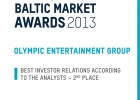 Baltic Market Awards 2013 Best Investor Relations According to the Analysts - 2nd place